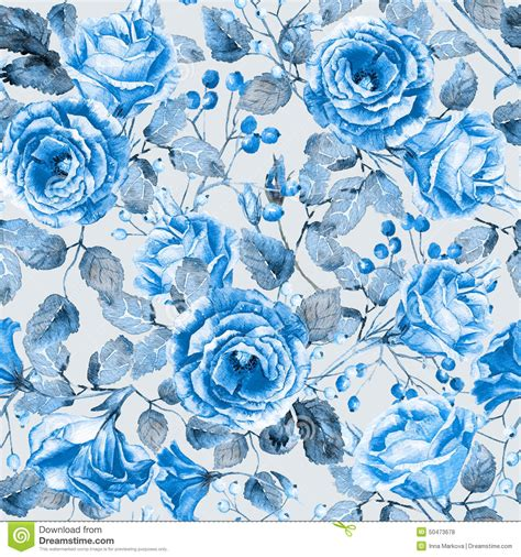watercolor roses pattern seamless pattern of watercolor blue roses stock