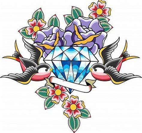 new school dove tattoo dagger diamonds old school tattoo traditional wings leave