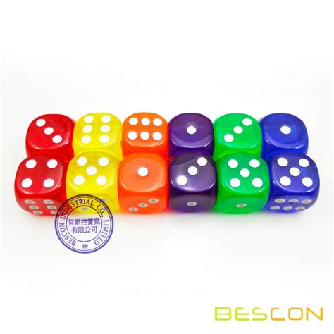 19mm Dice china colorful transparent plastic dice 19mm transparent