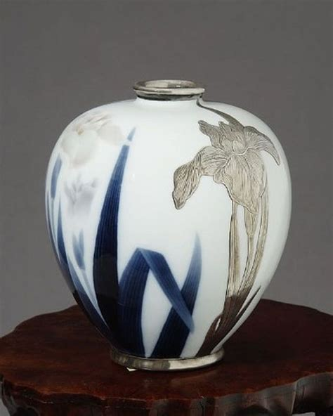 Vase With Irises by Japanese Studio Porcelain Vase Of Painted And Applied