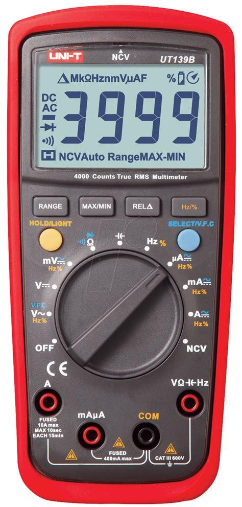Multimeter Elektronik Ut 139b Uni T Trms Digital Multimeter 4000 Counts At Reichelt Elektronik
