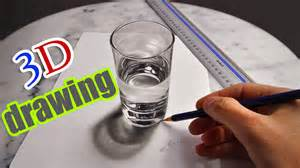 3d drawing a realistic glass of water amazing illusion