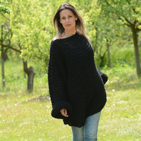 black hand knit wool boatneck summer sweater by extravagantza - Hand Knitted Boat Neck Sweater