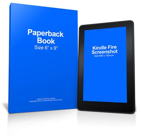 Kindle Fire Paperback Book Mockup Cover Actions Premium Mockup Psd Template Kindle Paperback Template