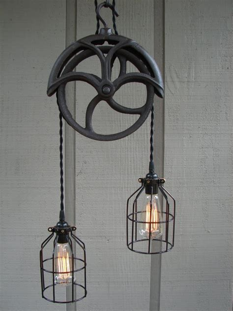 Pulley Pendant Light Fixture 1000 Images About Upcycled Lighting Obsession On Pinterest Industrial Drum Kit And L Shades
