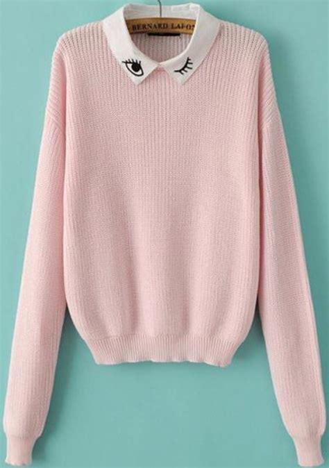 Eye White Sweater sweater collared pink sweater collared sweater white collar collar collared top