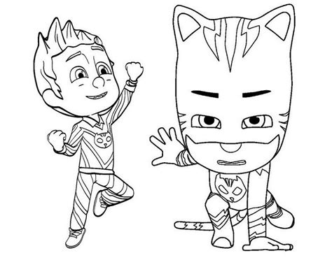 cat boy coloring page catboy and romeo pj mask coloring and drawing disney