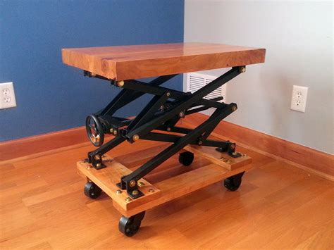 i built an industrial style scissor lift end with a