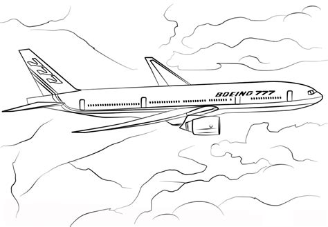 boeing 777 airplane coloring page transportation