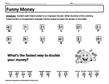 freebie riddle worksheet quot money quot self checking