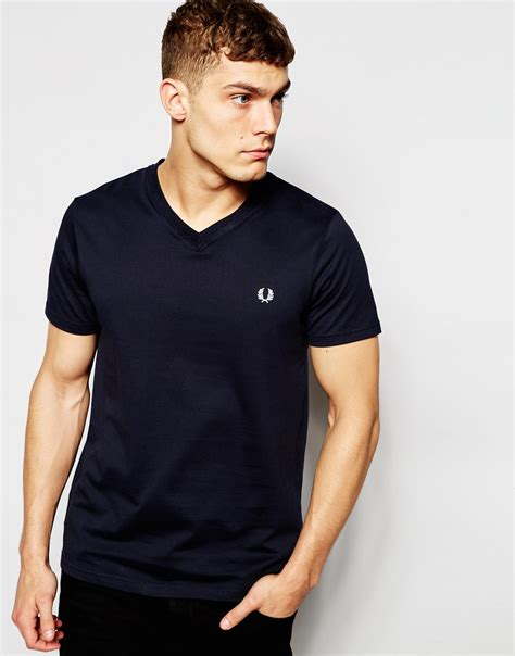 T Shirt Fred Perry Navy fred perry t shirt with v neck in navy in blue for lyst