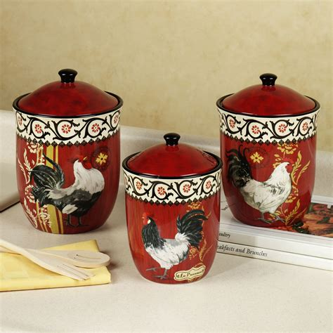 rooster kitchen canisters fresh finest canister sets with spoons 21002