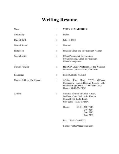 Writing A Resume by Writing Resume