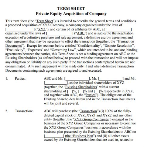 acquisition term sheet template term sheet template 14 free documents in pdf