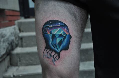 iceberg tattoo psychedelic iceberg on the right thigh