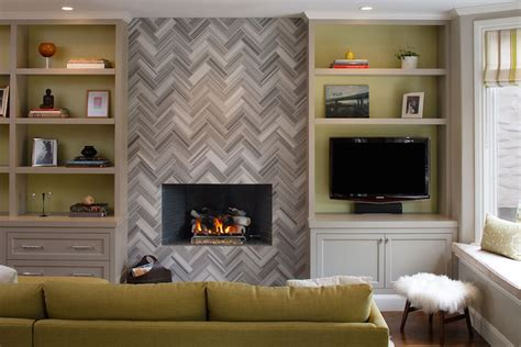 Marble Herringbone Fireplace   Contemporary   Living Room