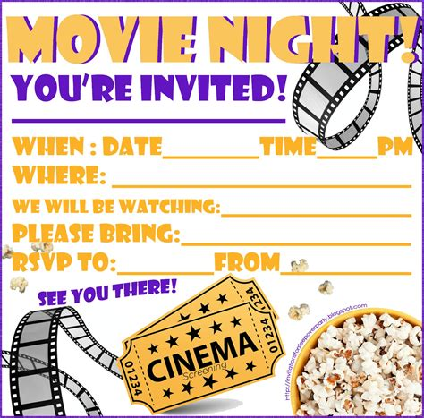printable halloween movie night invitations invitations for sleepover party