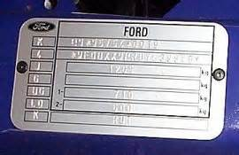ford ka vin vehicle identification chassis number