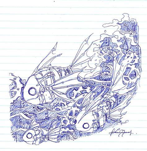 doodles with pen pen doodles robotic fish by yuki 32k on deviantart