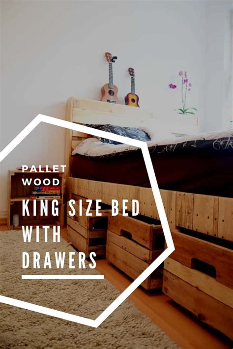 pallet wood king size bed  drawers storage