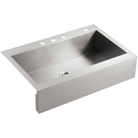 top mount apron front sink kohler vault top mount apron front stainless steel 36 in