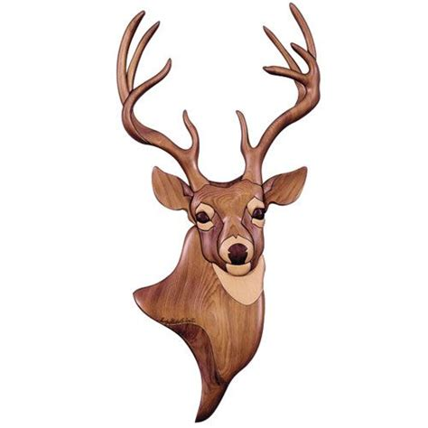 deer patterns and wood wall design on pinterest intarsia buck deer wall art woodworking plan gift project
