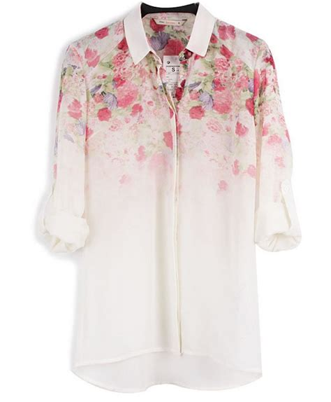Blouse Vintage Printing st343 new fashion womens floral print chiffion blouse