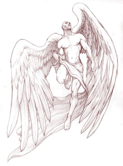 angel tattoo design by daniellehope the gallery for gt warrior sketches