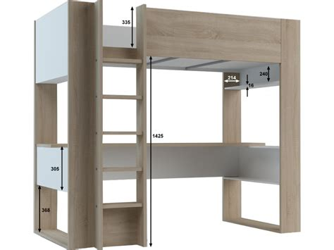 lit mezzanine bureau lit mezzanine noahbureau rangements 90x190cm option matelas