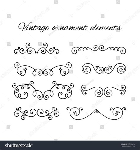 Decorative Text by Set Decorative Text Divider Swirly Stock Vector