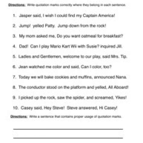 Grammar And Punctuation Worksheets by Quotation Marks Punctuation Worksheet 3