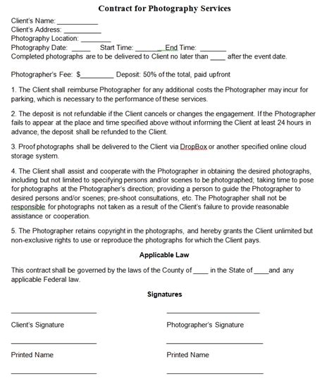 photography contract template free microsoft word templates