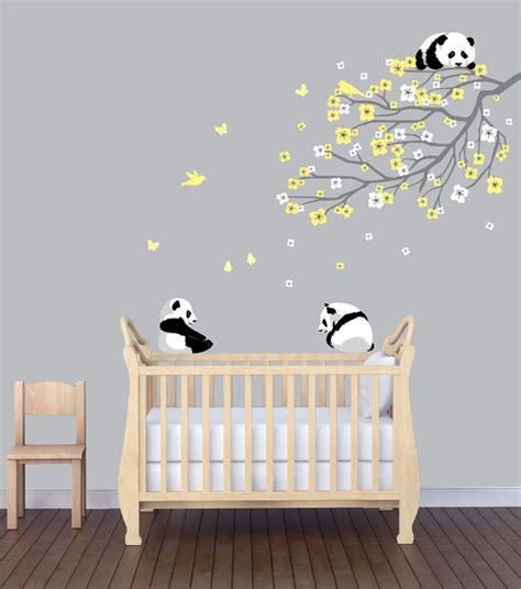 Flower Branch Panda Nursery Sticker Animal Wall Art Nursery Animal Wall Decals