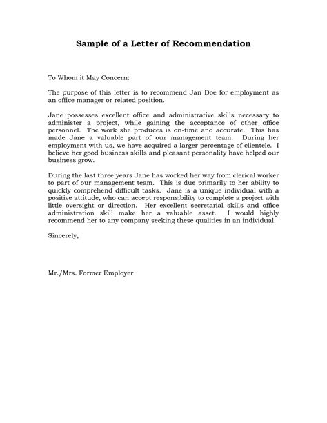 Reference Letter By Supervisor reference letter of recommendation sle sle manager