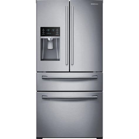 samsung 28 15 cu ft 4 door door refrigerator in stainless steel rf28hmedbsr the home