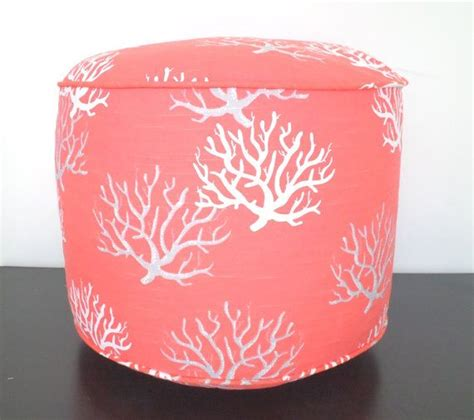 Coral Ottoman Coral Pouf Ottoman Pouf 18 Quot Coastal Pouf Small Chair Seating
