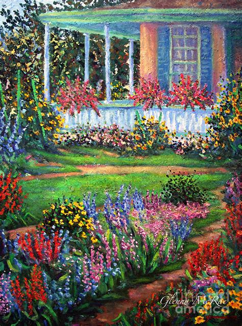 Images Flower Gardens Front Porch And Flower Gardens Painting By Glenna Mcrae