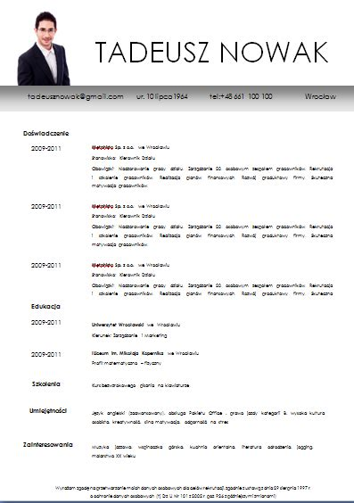 Resume For Teachers Sample by Darmowy Wz 243 R Cv Grey Calm Cv Wzory Szablony Cv