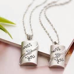 Sterling Silver Wedding Gifts Quot Miss You Quot Couples 925 Sterling Silver Necklaces Pendants Matching Set Gift For Anniversary