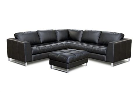 L Shape Leather Sofa Furniture Black Leather L Shape Sofa With Arms And Back Using Tufted Seat Chrome Metal