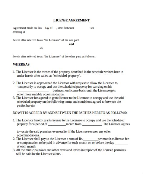licence agreement template 17 agreement templates free sle exle format