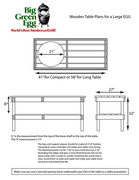 Large Big Green Egg Table Plans Search Big