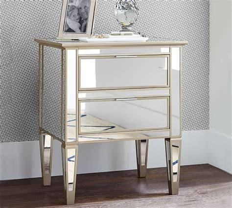 Pottery Barn Mirrored Nightstand by Park Mirrored 2 Drawer Nightstand Pottery Barn