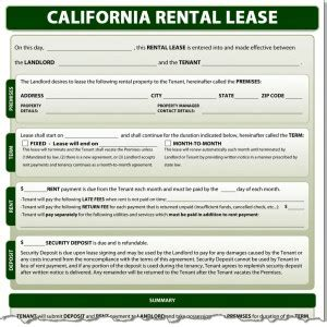 california rental lease