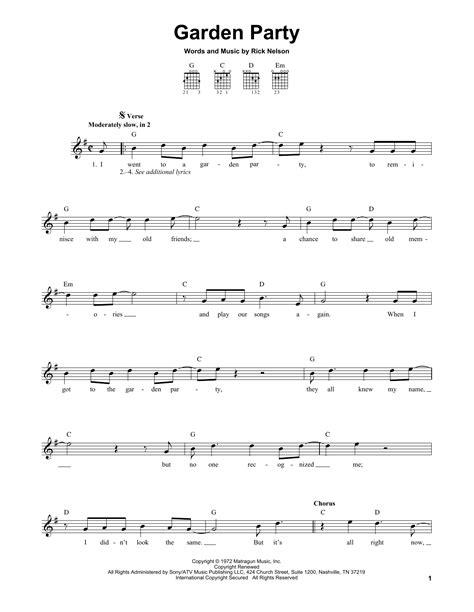 backyard party lyrics ricky nelson garden party sheet music