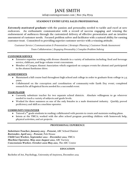 graduate program resume sles sales professional resume entry level