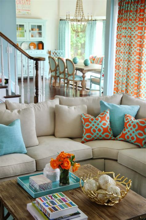 Blue Living Room Orange Accents How To Decorate Your Home With Orange Photos