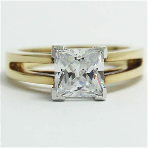 split band princess cut engagement ring 14k yellow gold