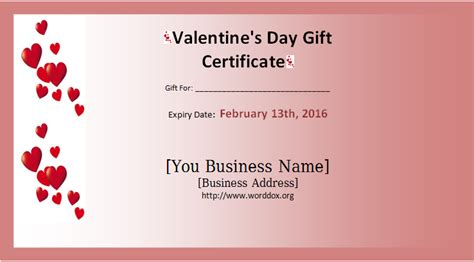 Valentine Gift Card Templates - 28 valentine certificate templates best photos of love gift certificate