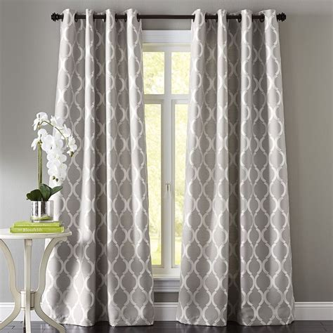 curtains for window against wall moorish tile gray grommet curtain the floor patterns